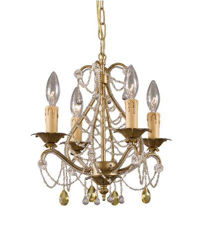 Crystorama Abigail 4 Light Mini Chandelier in Gold Leaf 4714-GL photo