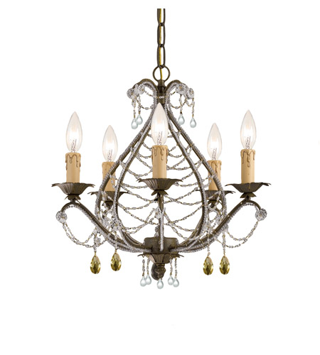 Crystorama Abigail 5 Light Mini Chandelier in Birch with Murano Crystals 4715-BI photo