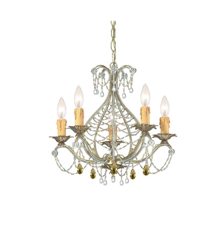 Crystorama Abigail 5 Light Mini Chandelier in Gold Leaf with Murano Crystals 4715-GL photo