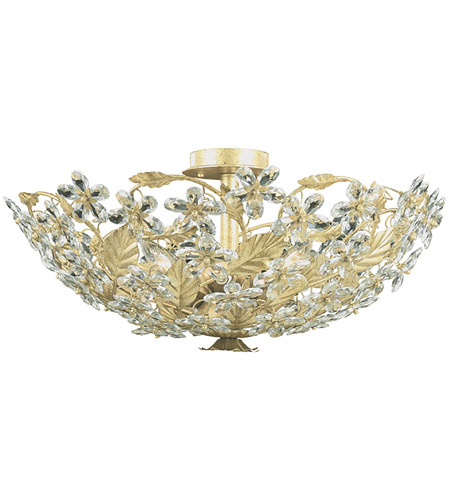Crystorama Primrose 6 Light Flush Mount in Champagne with Hand Polished Crystals 4724-CM