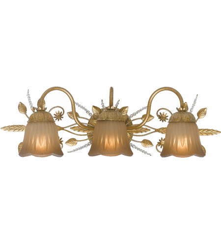 Crystorama Primrose 3 Light Bath Light in Gold Leaf with Swarovski Spectra Crystals 4743-GL