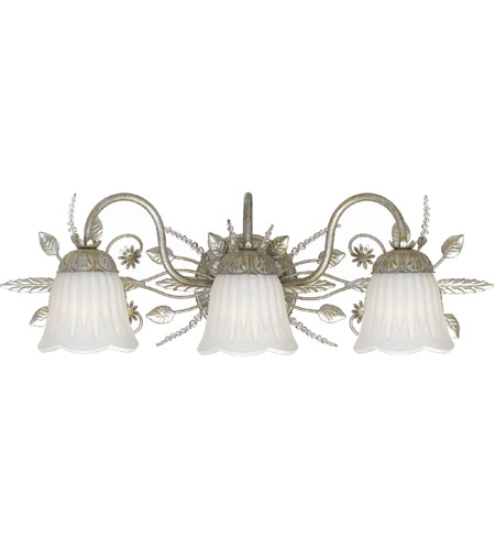 Crystorama 4743-SL Primrose 3 Light 24 inch Silver Leaf Vanity Light Wall Light in Silver Leaf (SL) photo