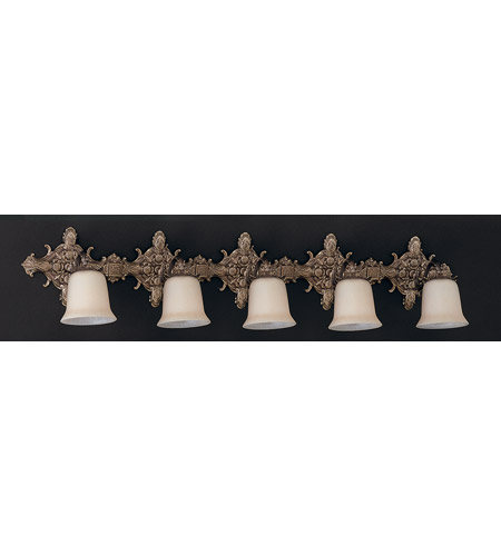 Crystorama Lighting Baroque 5 Light Bath Vanity in Antique Brass 477-AB photo