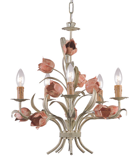 Crystorama Southport 5 Light Chandelier in Sage and Rose 4805-SR photo