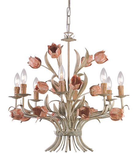 Crystorama Southport 8 Light Chandelier in Sage/Rose 4808-SR photo