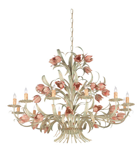 Crystorama Southport 12 Light Chandelier in Sage/Rose 4809-SR photo