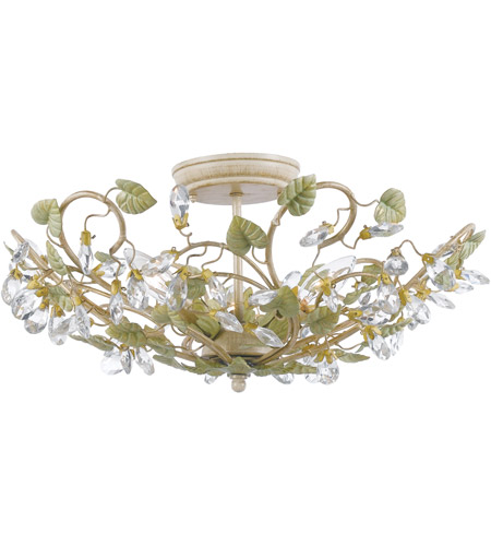 crystorama 4840ct josie 5 light 21 inch champagne green tea semi flush mount ceiling light