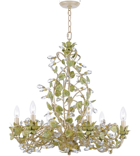 Crystorama Josie 6 Light Chandelier in Champagne Green Tea, Hand Cut 4846-CT photo