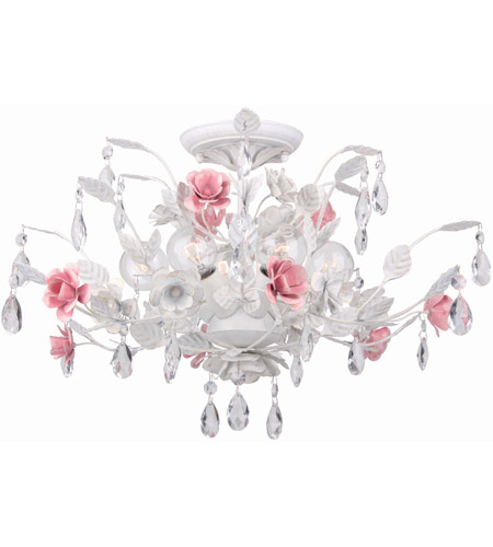 Crystorama 4850-WW Lola 6 Light 20 inch Wet White Semi Flush Mount Ceiling Light photo