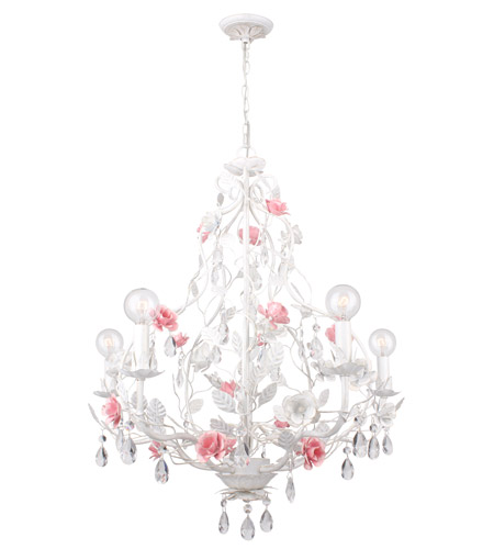 Crystorama Lola 5 Light Chandelier in Antique White 4856-AW photo