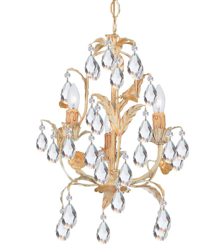Crystorama 4903-CM Athena 3 Light 13 inch Champagne Mini Chandelier Ceiling Light photo