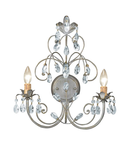 Crystorama Victoria 2 Light Wall Sconce in Silver Leaf 4922-SL photo