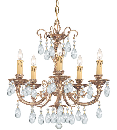 Crystorama 495-OB-CL-SAQ Etta 5 Light 20 inch Olde Brass Chandelier Ceiling Light in Swarovski Spectra (SAQ) photo