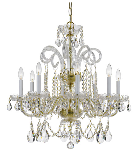 Crystorama 5008-PB-CL-SAQ Traditional Crystal 8 Light 27 inch Polished Brass Chandelier Ceiling Light photo