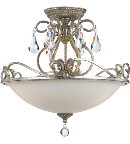 Crystorama 5010-OS-CL-MWP Ashton 3 Light 17 inch Olde Silver Flush Mount Ceiling Light in Olde Silver (OS) photo