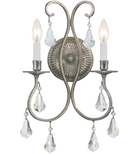 Crystorama Ashton 2 Light Wall Sconce in Olde Silver with Hand Cut Crystals 5012-OS-CL-MWP