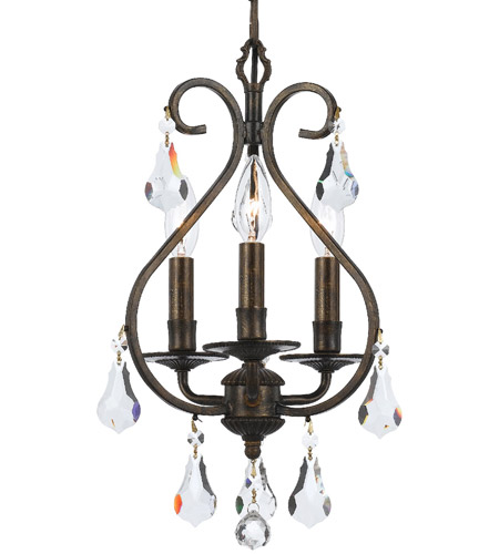 Crystorama 5013-EB-CL-MWP Ashton 3 Light 10 inch English Bronze Mini Chandelier Ceiling Light in English Bronze (EB) photo