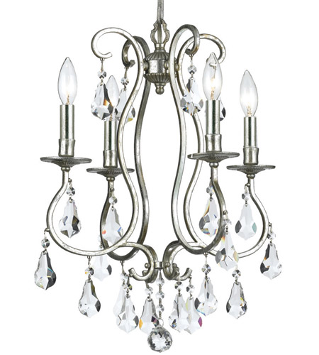 Crystorama 5014-OS-CL-MWP Ashton 4 Light 16 inch Olde Silver Mini Chandelier Ceiling Light in Olde Silver (OS) photo