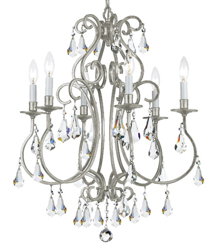 Crystorama 5016-OS-CL-MWP Ashton 6 Light 22 inch Olde Silver Chandelier Ceiling Light in Olde Silver (OS) photo