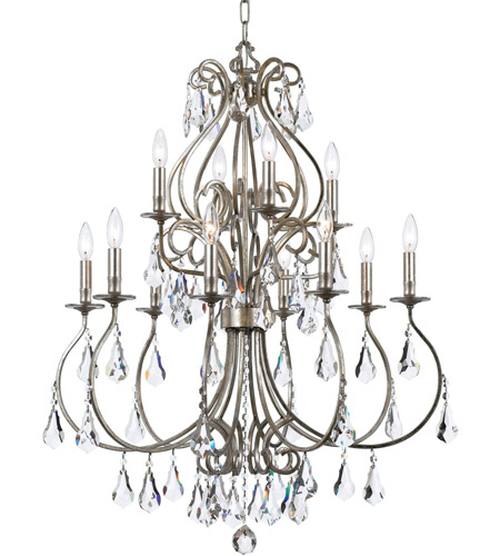 Crystorama 5017-OS-CL-MWP Ashton 12 Light 32 inch Olde Silver Chandelier Ceiling Light in Olde Silver (OS) photo
