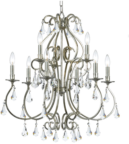Crystorama Ashton 9 Light Chandelier in Olde Silver with Hand Cut Crystals 5019-OS-CL-MWP