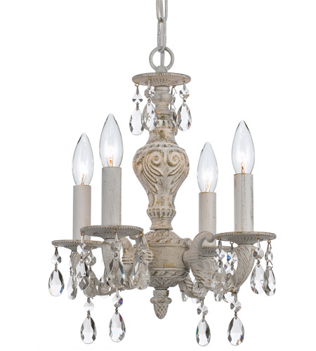 Crystorama 5024-AW-CL-S Paris Market 4 Light 14 inch Antique White Mini Chandelier Ceiling Light in Antique White (AW), Clear Swarovski Strass photo