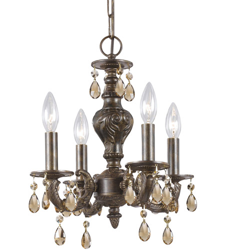 Crystorama 5024-VB-GT-MWP Paris Market 4 Light 14 inch Venetian Bronze Mini Chandelier Ceiling Light photo