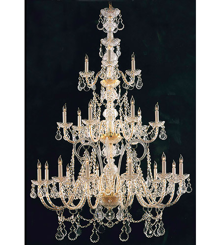 Crystorama Traditional Crystal 21 Light Chandelier in Polished Brass, Italian Crystals 5035-PB-CL-I photo
