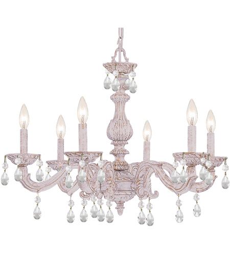 Crystorama Sutton 6 Light Chandelier in Antique White 5036-AW-CL-SAQ photo