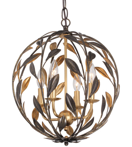 Crystorama 504-EB-GA Broche 4 Light 16 inch English Bronze and Antique Gold Mini Chandelier Ceiling Light photo