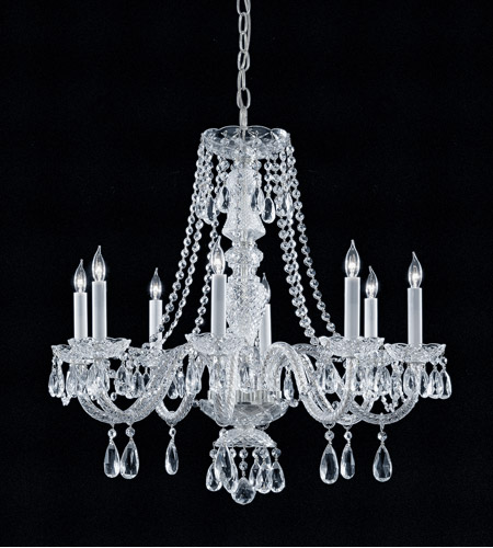 Crystorama Traditional Crystal 8 Light Chandelier in Polished Chrome, Swarovski Spectra 5048-CH-CL-SAQ photo