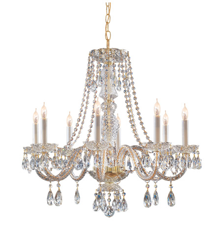 Crystorama Traditional Crystal 8 Light Chandelier in Polished Brass, Swarovski Elements 5048-PB-CL-S photo