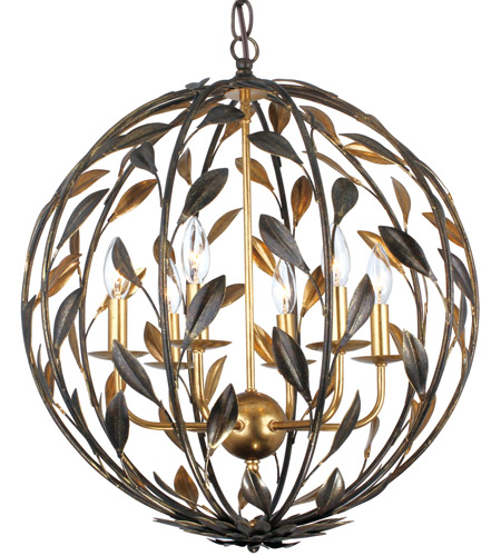 Crystorama Broche 6 Light Chandelier in English Bronze/Antique Gold 506-EB-GA photo
