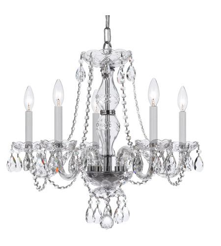 Crystorama 5085-CH-CL-MWP Traditional Crystal 5 Light 21 inch Polished Chrome Chandelier Ceiling Light in Polished Chrome (CH), Clear Hand Cut photo