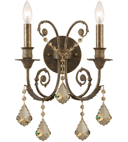 Crystorama 5112-EB-GTS Regis 2 Light 13 inch English Bronze Wall Sconce Wall Light in Golden Teak (GT), Swarovski Elements (S), English Bronze (EB) photo