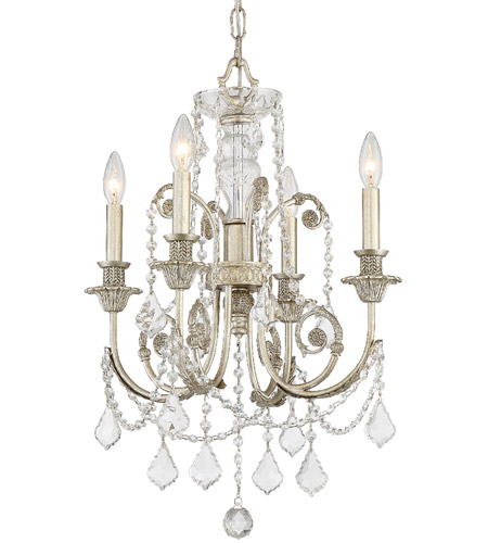 Crystorama 5114-OS-CL-MWP Regis 4 Light 18 inch Olde Silver Mini Chandelier Ceiling Light in Olde Silver (OS), Clear Hand Cut photo