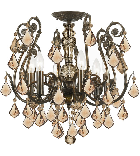 Crystorama 5115-EB-GTS Regis 6 Light 20 inch English Bronze Semi Flush Mount Ceiling Light in Golden Teak (GT), Swarovski Elements (S), English Bronze (EB) photo