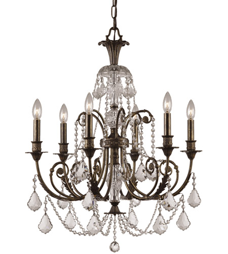 Crystorama 5116-EB-CL-MWP Regis 6 Light 26 inch English Bronze Chandelier Ceiling Light in English Bronze (EB), Clear Hand Cut photo