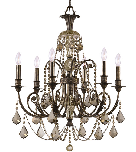 Crystorama Regis 6 Light Chandelier in English Bronze 5116-EB-GT-MWP photo