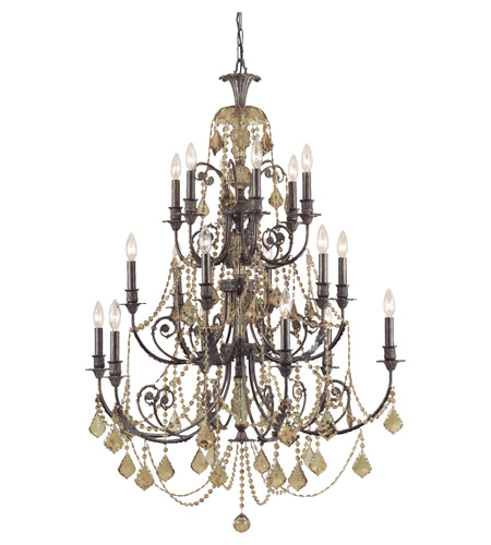 Crystorama Regis 18 Light Chandelier in English Bronze, Golden Teak, Hand Cut 5117-EB-GT-MWP photo