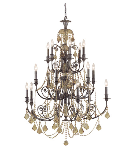 Crystorama Regis 18 Light Chandelier in English Bronze, Golden Teak, Swarovski Elements 5117-EB-GTS photo