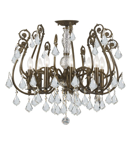 Crystorama 5118-EB-CL-MWP Regis 8 Light 24 inch English Bronze Semi Flush Mount Ceiling Light in Clear Hand Cut photo