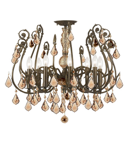Crystorama Regis 8 Light Semi-Flush Mount in English Bronze, Golden Teak, Swarovski Elements 5118-EB-GTS photo