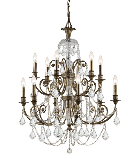 Crystorama 5119-EB-CL-SAQ Regis 12 Light 32 inch English Bronze Chandelier Ceiling Light in Swarovski Spectra (SAQ), English Bronze (EB) photo