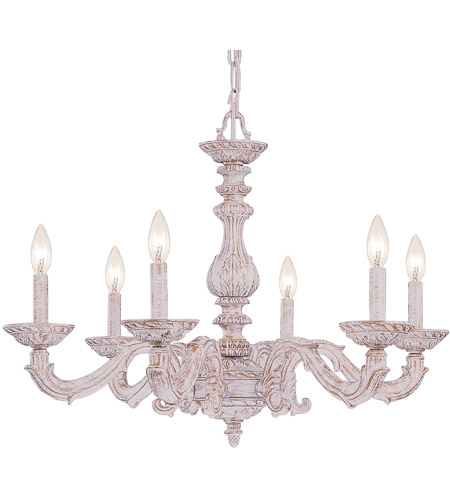 Crystorama 5126-AW Paris Market 6 Light 28 inch Antique White Chandelier Ceiling Light in Antique White (AW) photo