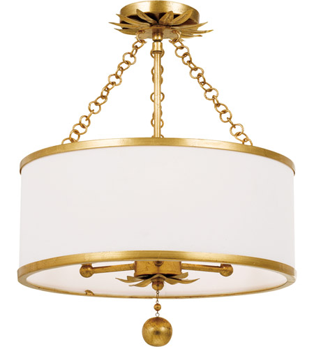 Crystorama 513-GA_CEILING Broche 3 Light 14 inch Antique Gold Pendant Ceiling Light photo
