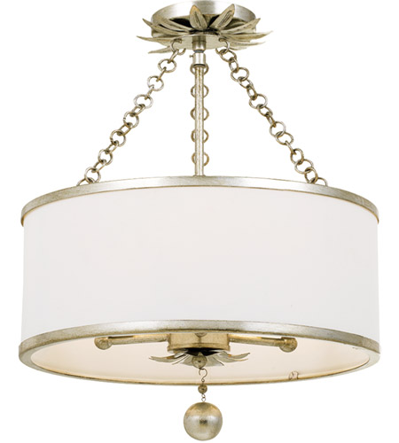 Crystorama 513-SA_CEILING Broche 3 Light 14 inch Antique Silver Pendant Ceiling Light photo