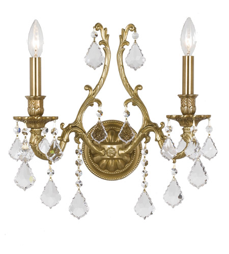 Crystorama Yorkshire 2 Light Wall Sconce in Aged Brass, Clear Crystal, Swarovski Spectra 5142-AG-CL-SAQ photo