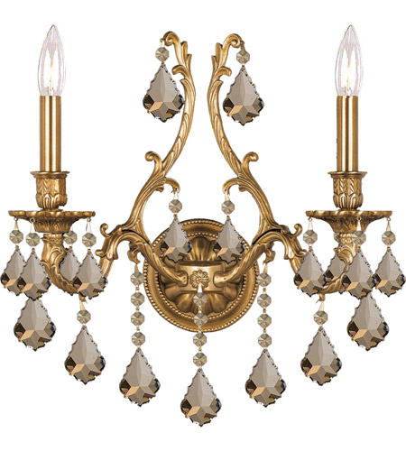 Crystorama 5142-AG-GTS Yorkshire 2 Light 16 inch Aged Brass Wall Sconce Wall Light in Golden Teak (GT), Swarovski Elements (S) photo