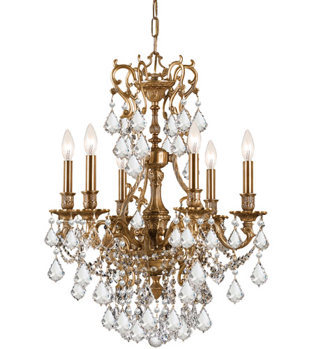 Crystorama 5146-AG-CL-MWP Yorkshire 6 Light 21 inch Aged Brass Chandelier Ceiling Light in Clear Crystal (CL), Hand Cut photo